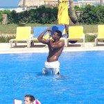 Emmanuel doing agua aerobics