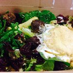 Takeaway salad of Beef meatballs with hummus and raita... Delish!