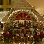 A gingerbread house made of gingerbread in the lobby - you can walk into it