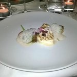 Grilled codfish with olive foam etc...