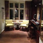 Computer desk in hotel's lobby