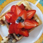 Home-made waffles for breakfast