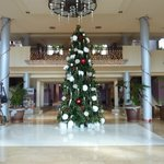 View from the main entrance, all decorated for Christmas
