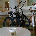 Bikes available in the quirky but immaculate lobby
