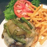 The Bronx Burger w/ Sauteed Onion, peppers and Swiss Cheese