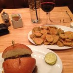 Kobe-Style Burger with Fried Pickles