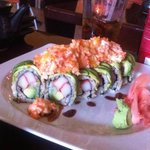Yummy sushi top with crab!