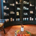 display case in lobby with tea for rest