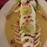 Steam squid in lime sauce