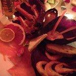 Présentation superbe de saumon et gambas
