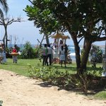 Wedding in garden next to beach