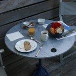 Mon petit déjeuner au bord de la piscine