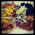 Fish Tacos with rice and black beans