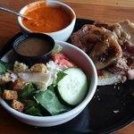 Tri-tip sandwich, with roasted red pepper soup and a side salad