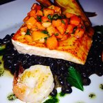 Salmon, shrimp, black bean risotto, topped with salsa