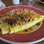 Ham, cheese & spinach omelette
