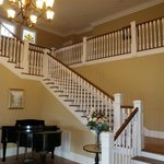 The gracious center stair hall at Rosehill Inn