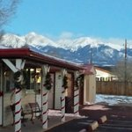 View of snow cap mountains from parking lot