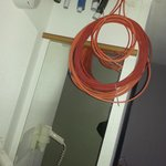 Electrical wiring hanging from the ceiling
