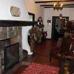 Main B&B entrance with historic fireplace
