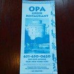 OPA front menu.