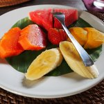 A plate of fruit serving before your breakfast