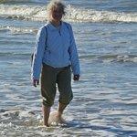 barefoot in the sea between Nieuwpoort and Oostduinkerke on a warm October day -091013