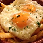 Fried eggs, chips with chorizo