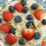 Porridge with fresh berries and Maple Syrup from my Pembrokeshire Coast Path Breakfast menu