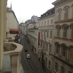 View of street from room balcony