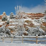 The red rocks after snowfall