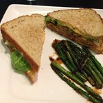 Fried Green Tomato sandwich w/ pimento  cheese and a side of glazed asparagus.  Devine!  Wow!