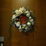 Christmas decor at door