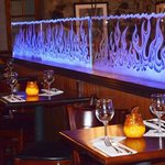 etched flames divider wall