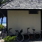 Arrière du bungalow avec les vélos à disposition