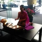 Musician in lobby