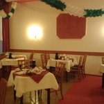 The dining room with Christmas decorations