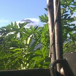 View of volcano from breakfast area