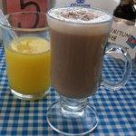 Homemade tasty chai tea and fresh OJ!