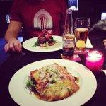 Vegetarian lasagne and the steak