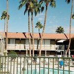 The motel and pool