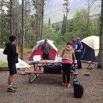 Setting up camp at Many Glacier.