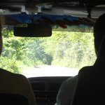 Inside our Bus going to Irie Blue Hole