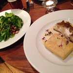 Chestnut crusted cod with side of watercress and spiced nuts