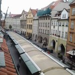 view from hotel window shows old markets