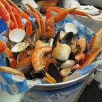 Seafood Bucket with Snow Crab, Shrimp, Mussels, Clams, and Corn on the Cobb