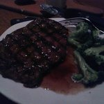 Ribeye with steamed broccoli