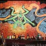 Mural behind the bar