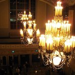 View of Chandeliers and Lobby from Third Floor Balcony