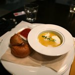Soup: Pumpkin soup with bread and tasty dip